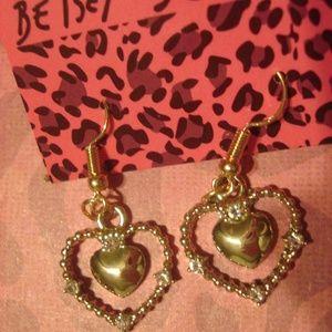 Betsey Johnson Heart in Heart Dangling Earrings